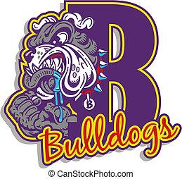 bulldogge, logo, mittel