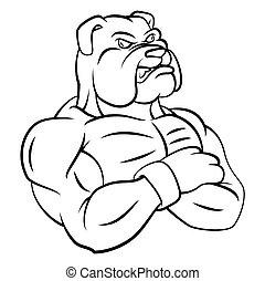 bulldogge, starke , maskottchen