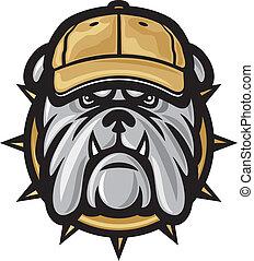 Bulldogge und Baseballkappe