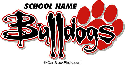 Bulldogs Design mit Pfotenabdruck.