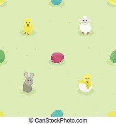 Bunny, Hühnchen, Schafe und Ostereier.