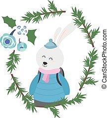 Bunny in Winterkleidung.