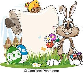 Bunny mit Blumen und Ostereiern.