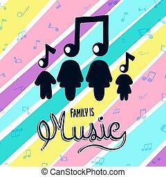 bunte, begriff, musik, familie, merkzettel, musikalisches