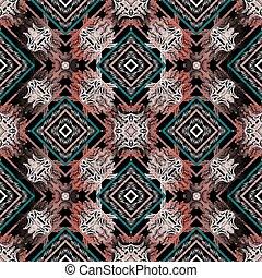 bunte, fabric., rhombus., seamless, tapisserie, hintergrund., ornament., textured, beschaffenheit, wallpaper., blätter, geometrisch, carpet., weinlese, bestickt, pattern., grunge, stickerei, blumen-, blumen, vektor, rahmen