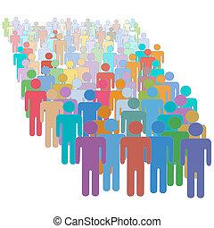bunte, leute, crowd, zusammen, viele, verschieden, groß