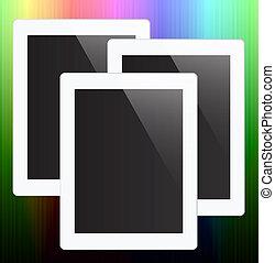 bunte, tablette pc, schirm, glatt, fantasie, edv, hintergrund, leer, abstrakt