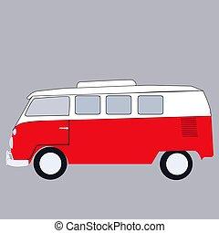 bus, mini, weißes, hintergrund., vektor, abbildung