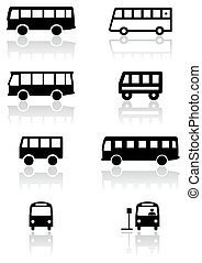 Bus oder Van-Symbol-Vektor eingestellt.