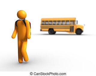 bus, schule, aus, bekommen