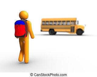 bus, schule, bekommen