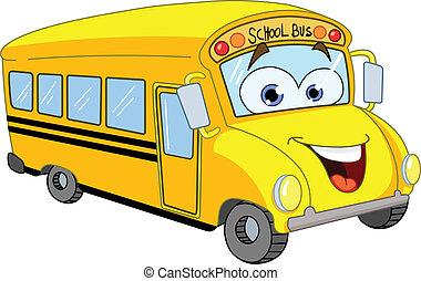 bus, schule, karikatur