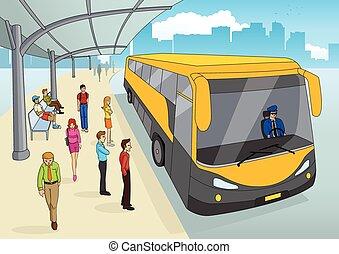 Busbahnhof in Cartoon.