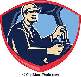 Busfahrer seitlicher Schild.