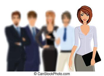 Busines Frau mit Business-Team.