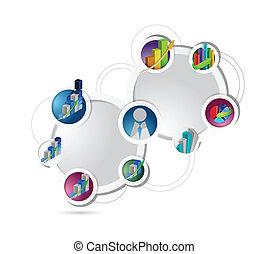 Business Concept Diagramm Illustration Netzwerk.