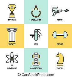 Business Development Fertigkeiten flache Symbole gesetzt