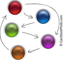 Business Diagramm Management Strategie Knöpfe isoliert Vektorgrafik.