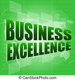 Business Excellence Wörter auf digitalem Touchscreen mit Weltkarten.