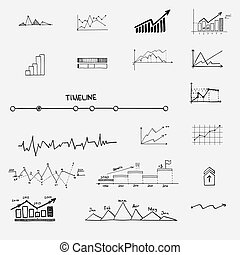 Business Finance Statistik infographics doodle hand gezeichnete Elemente. Konzept - Diagramm, Diagramm, Pfeilzeichen, Suchergebnisse Profit