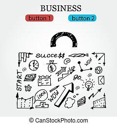 Business Hintergrund mit hand gezeichneten Symbolen. Vector Illustration