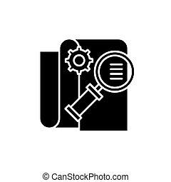 Business Intelligence Black Icon, Vektorschild auf isoliertem Hintergrund. Business Intelligence Concept Symbol, Illustration