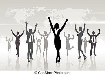 Business-Leute feiern Silhouette Hände hoch, Businesswoman Konzept Gewinner.