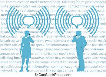 Business-Leute Smartphone G4 WiFi Social Network.