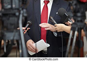 Business Meeting Konferenz Journalismus Mikrofone.