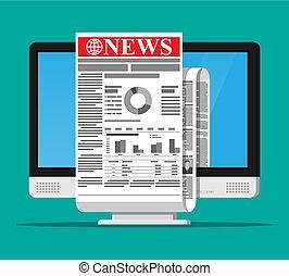 Business News auf Bildschirm des Computermonitors.