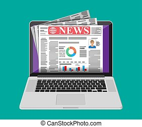 Business News auf dem Bildschirm von Laptop-Computer.