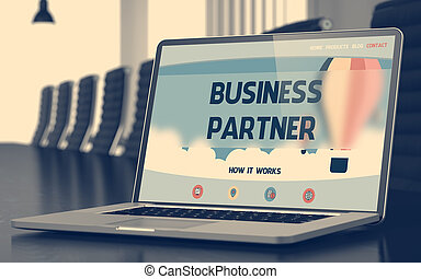 Business Partner Konzept auf Laptop-Bildschirm. 3D.
