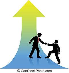 Business-Person hilft Partner bis zum Erfolg.