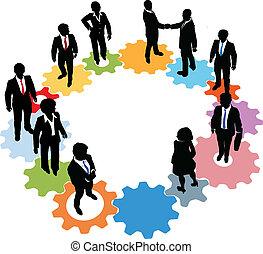 Business-Personen-Team Technologie-Getriebe.