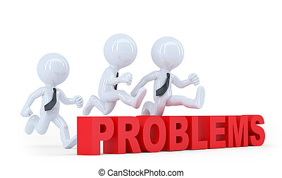 Business-Team springt über ein Hürdenproblem. Isoliert