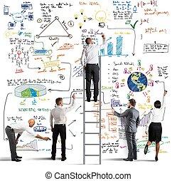 Business-Team zeichnet ein neues Projekt.