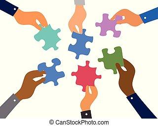 Business Teamwork Puzzles Konzept.