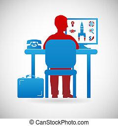 Business Workspace Symbol Businessman bei der Design-Templates-Temploration.