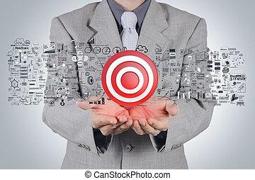 Businessman Hand 3d Zielzeichen und Business Strategie als Konzept.