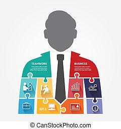 Businessman infographic Template jigsaw Banner . Konzept vektorische Abbildung