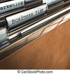 Businessplan Ordner vor Marketing Ordner, Raum für Text, Fokus auf das Wort, verschwommener Effekt