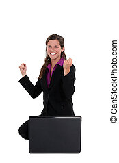 businesswoman., ekstatisch