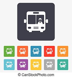 Busschild-Ikone. Öffentliches Transportsymbol.