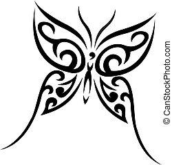 Buterfly Stammesvektor-Tattoo
