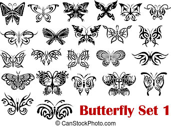 Butterfly Silhouette Icons.