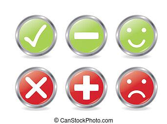 Buttons der Validierung Icons.