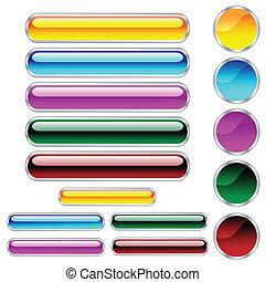 Buttons, schlampiges, rundes, rundes Rechteck und Kreise in verschiedenen Farben