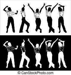B&W tanzende Silhouette