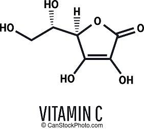 c, formel, vektor, vitamin, abbildung, skelettartig