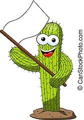 Cactus-Cartoon lustige Charakter-Unterstützer weiße Flagge isoliert.